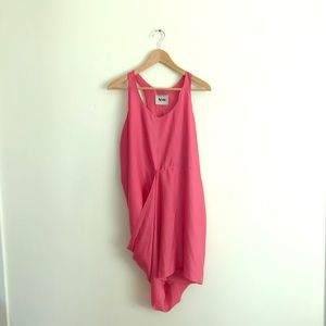 Acne Pink Magenta Draper Racer Back Dress 4/S